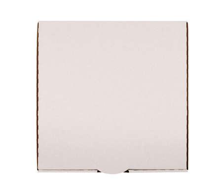 pizza box: Caja de pizza Llanura aislado contra el fondo blanco. Foto de archivo