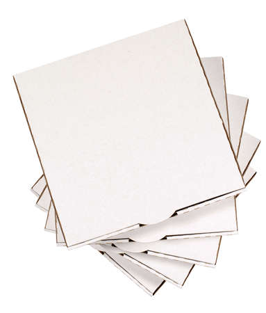 pizza box: Stack of blank pizza boxes isolated on a white background.