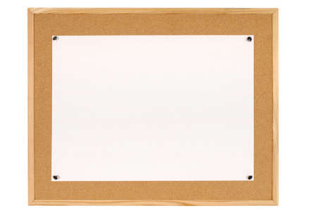 Cork notice or bulletin board with wood frame and large sheet of plain white paper isolated on a white background.  Space for copy. Banco de Imagens