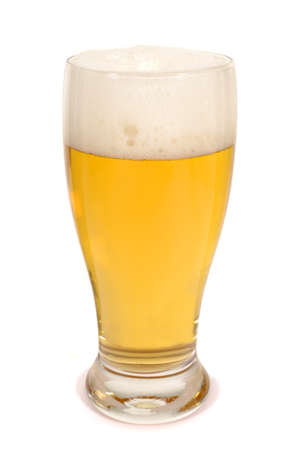 pilsener: Glass of beer against a white background