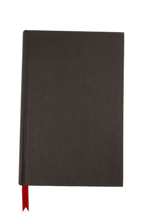 hardback: Plain black hardback book with red ribbon bookmark isolated against a white background. Stock Photo