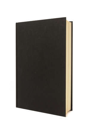 Plain black hardback book standing upright isolated on a white background.  Space for copy.