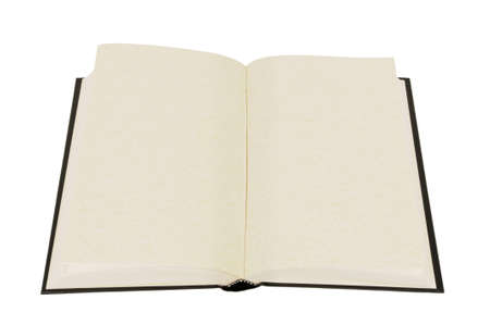 Old blank hardback book with faded parchment pages isolated against a white background.  Space for copy. photo
