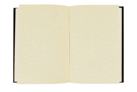 hardback: Old blank hardback book with faded parchment pages isolated against a white background.  Space for copy. Stock Photo
