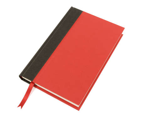 hardback: Plain red and black hardback bookwith ribbon bookmark isolated on a white background.  Space for copy.