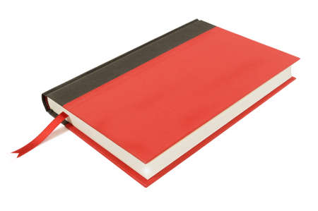 hardback: Plain red and black hardback book isolated on a white background.  Space for copy.
