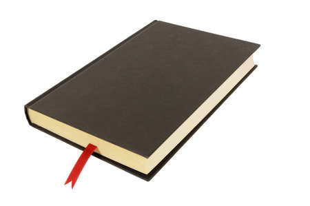 hardback: Plain black hardback book with red ribbon bookmark isolated against a white background.  Space for copy.