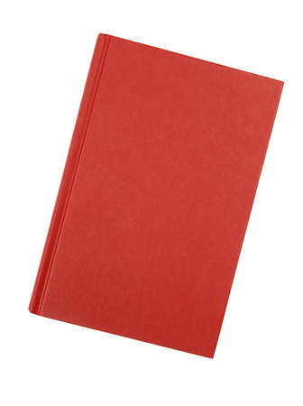hardback: Front cover of a plain red hardback book isolated against a white background.  Space for copy. Stock Photo