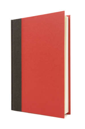 hardback: Red and black hardback book standing upright isolated on a white background.  Space for copy. Stock Photo
