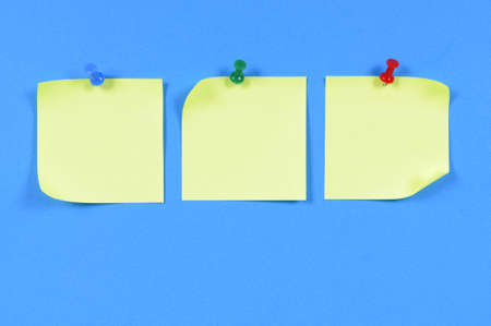 pinned: Yellow sticky notes pinned to blue paper.