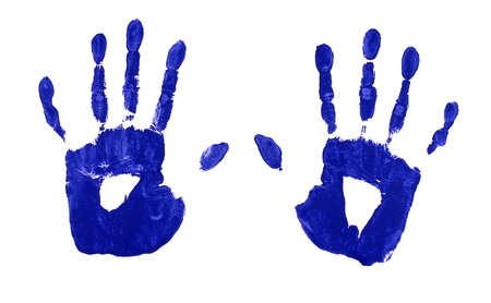 handprints: Female or child handprints made from blue acrylic paint on white paper