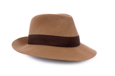 fedora hat: Classic tan felt Fedora isolated on white