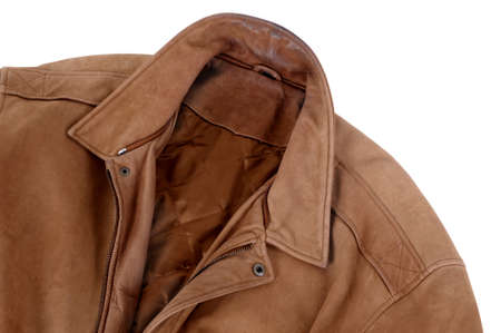 provided: Classic tan leather jacket isolated on white (path provided).