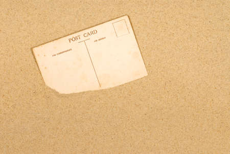 post cards: Old or vintage postcard on a sandy beach