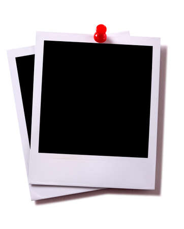 red pushpin: Two blank instant camera photo prints with red pushpin isolated on white with shadow.