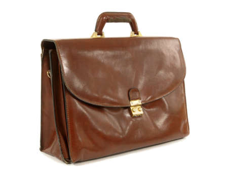 leather briefcase: Old worn brown leather briefcase set against a white background