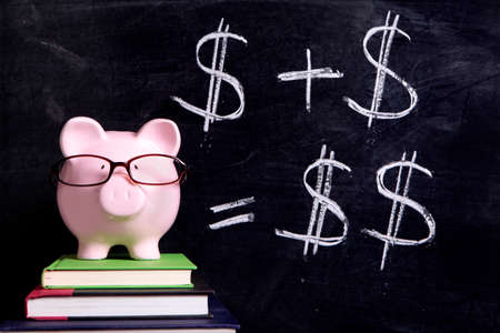 Pink piggy bank with glasses standing on books next to a blackboard with simple money math.  Sharp focus on the piggy bank with blackboard slightly blurred. 스톡 콘텐츠