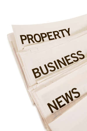 broadsheet: Several newspapers with headlines set against a white background Stock Photo