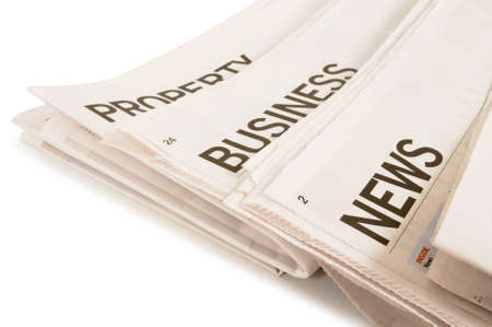 latest: Several newspapers with headlines set against a white background Stock Photo