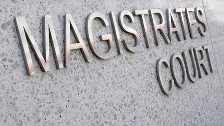 magistrates: Magistrates Court sign in stainless steel Stock Photo