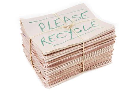 broadsheet: Bundle of newspapers with recycle notice Stock Photo