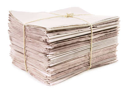broadsheet: Bundle of new newspapers tied with rope Stock Photo