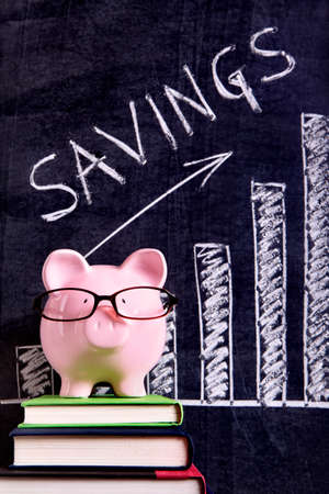 Pink piggy bank with glasses standing on books next to a blackboard with savings growth chart.  Sharp focus on the piggy bank. photo