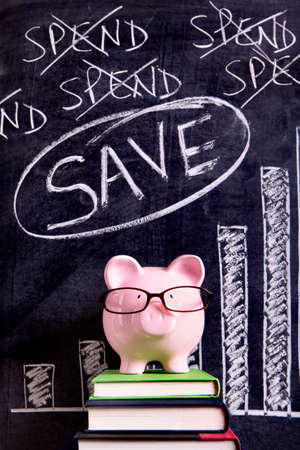 Pink piggy bank with glasses standing on books next to a blackboard with savings message.  Sharp focus on the piggy bank. photo