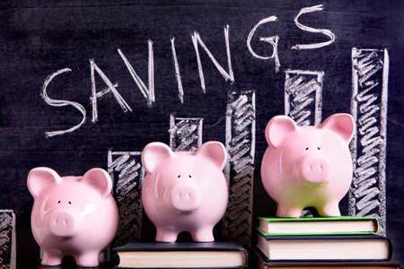 Three pink piggy banks standing on books next to a blackboard with savings chart.  Sharp focus on the piggy banks.