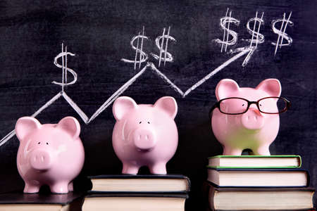 money stacks: Three pink piggy banks standing on books next to a blackboard with simple savings progress chart.  Sharp focus on the piggy banks.