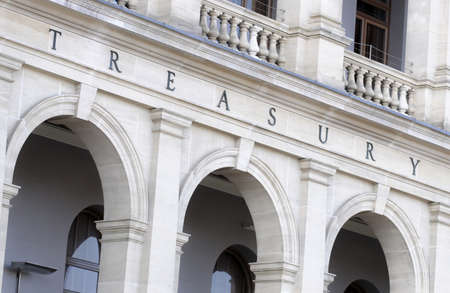 treasury: Treasury sign on Victorian stone building