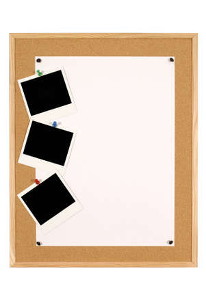 cork sheet: Cork notice or bulletin board with wood frame and large sheet of plain white paper with blank instant camera photo prints isolated on a white background.
