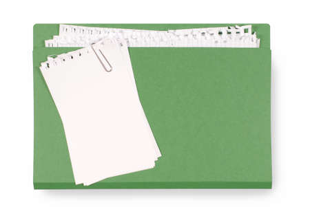 untidy: Office folder with untidy note paper isolated on a white background