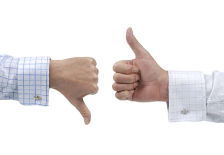 disagree: Two executives or businessmen disagreeing over a deal or contract by using hand signals  Stock Photo