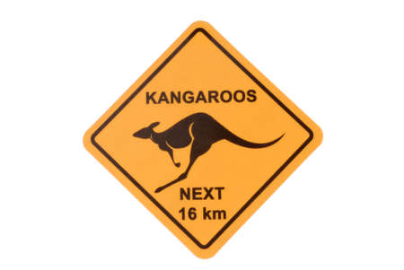 heed: Australian road sign warning of kangaroos isolated on a white background.