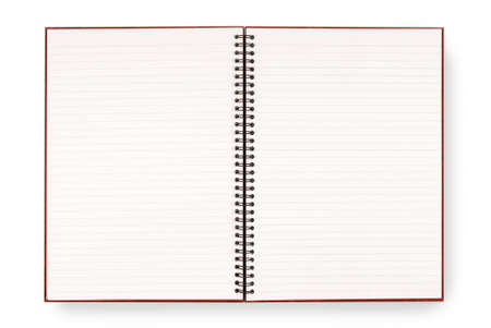 exercise book: Writing or exercise book with lined blank white pages isolated on a white background. Stock Photo