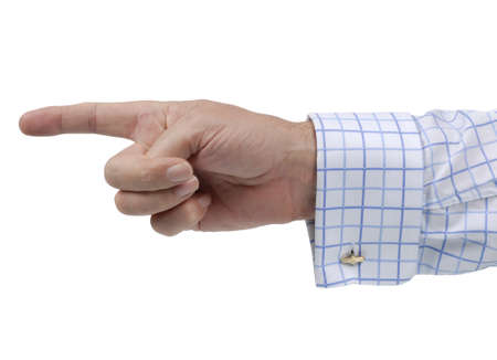 accusing: Executive businessman pointing his finger isolated on a white background.
