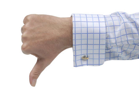 Businessman giving a thumb down negative or disapprove sign isolated against a white background. photo
