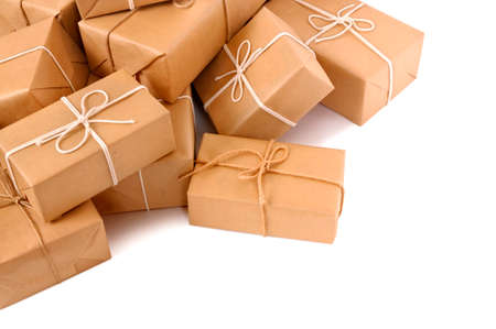 Untidy pile of brown parcels photo