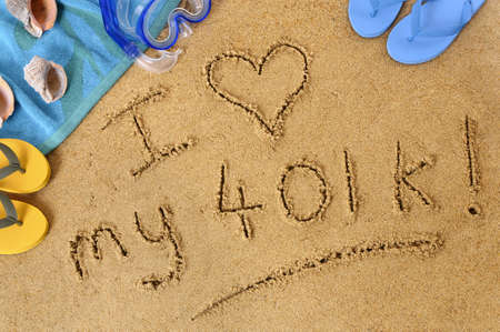 retiring: Retirement beach background with towel and flip flops and words written in sand. Stock Photo