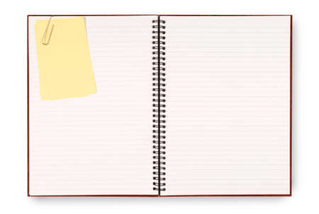 space for copy: Writing book or scrapbook with yellow sticky notes  isolated on a white background.  Space for copy. Stock Photo