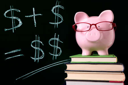 Pink piggy bank with glasses standing on books next to a blackboard with simple money math.  Sharp focus on the piggy bank. photo