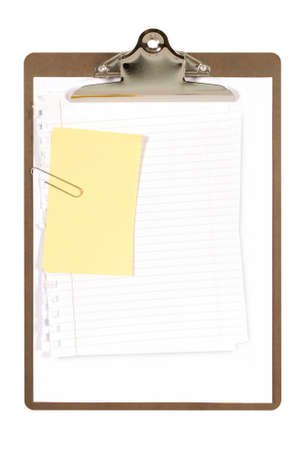 plain paper: Ordinary clipboard with plain paper and yellow sticky notes isolated on a white background.  Space for copy.