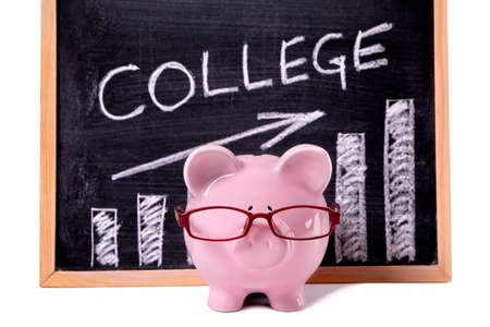 college fund savings: Pink piggy bank with glasses standing in front of a blackboard with simple college savings or fees chart.