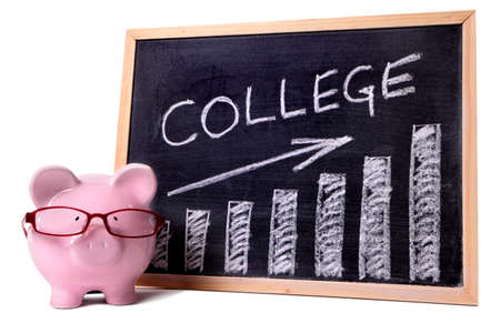 Pink piggy bank with glasses standing next to a blackboard with simple college savings or fees chart.