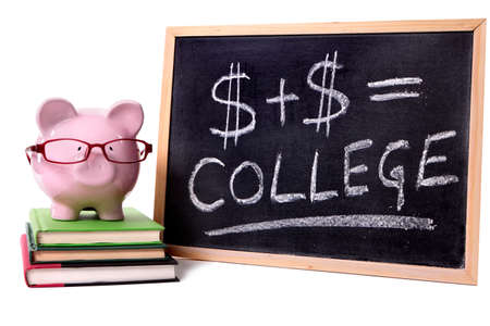 college fund savings: Pink piggy bank with glasses standing on books next to a blackboard with simple college savings or fees formula. Stock Photo