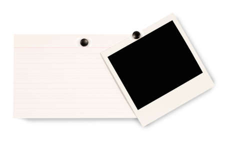 Blank instant camera photo print and white office index card isolated on a white background. Space for copy.