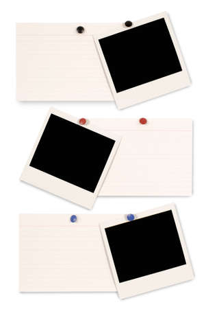 Three blank instant camera photo prints and white office index cards isolated on a white background. Space for copy.