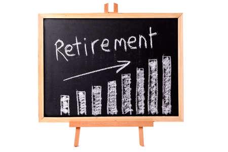 Blackboard with retirement savings chart.