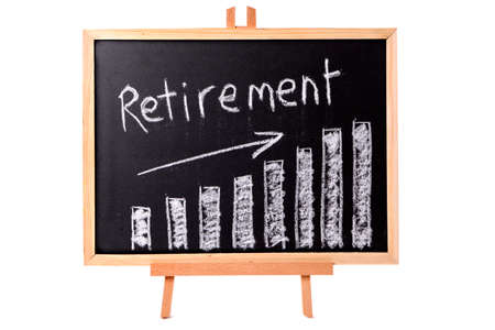 retirement savings: Blackboard with retirement savings chart.